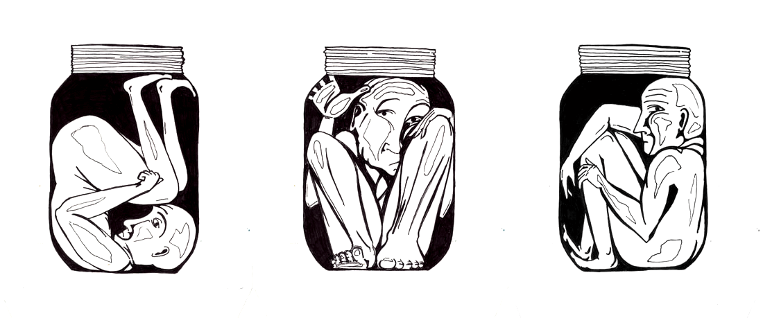 pen drawing of 3 humans trapped in jars