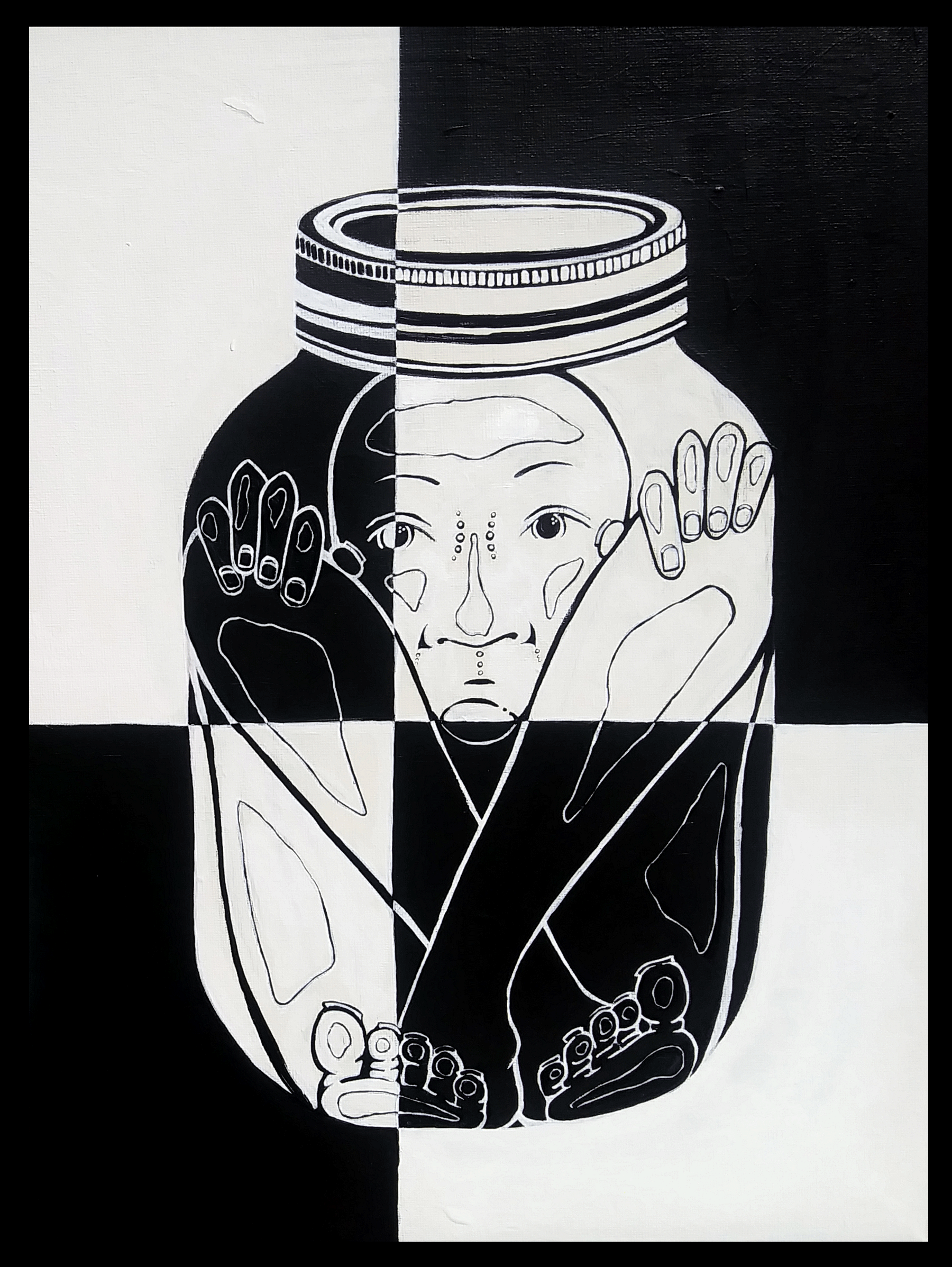 Painting of a human trapped in a jar