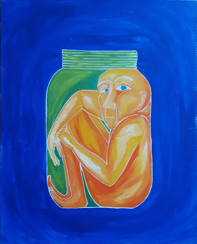 painting of a human trapped inside a jar