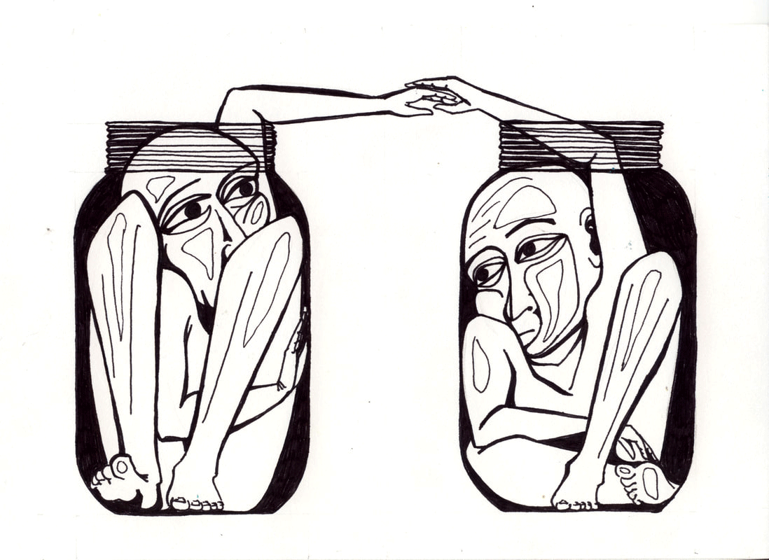 pen drawing on paper of two people separated by glass walls
