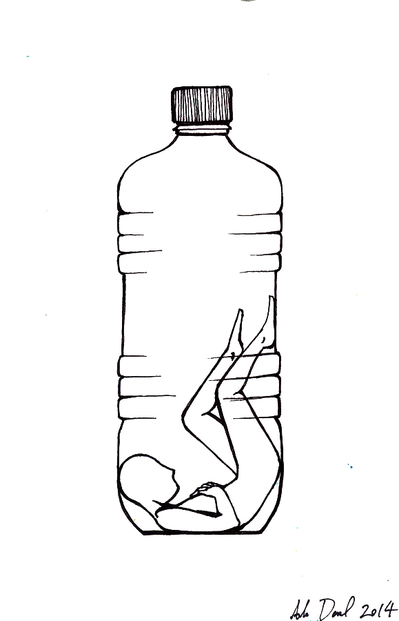 drawing by Ada Denil of a human inside a plastic bottle
