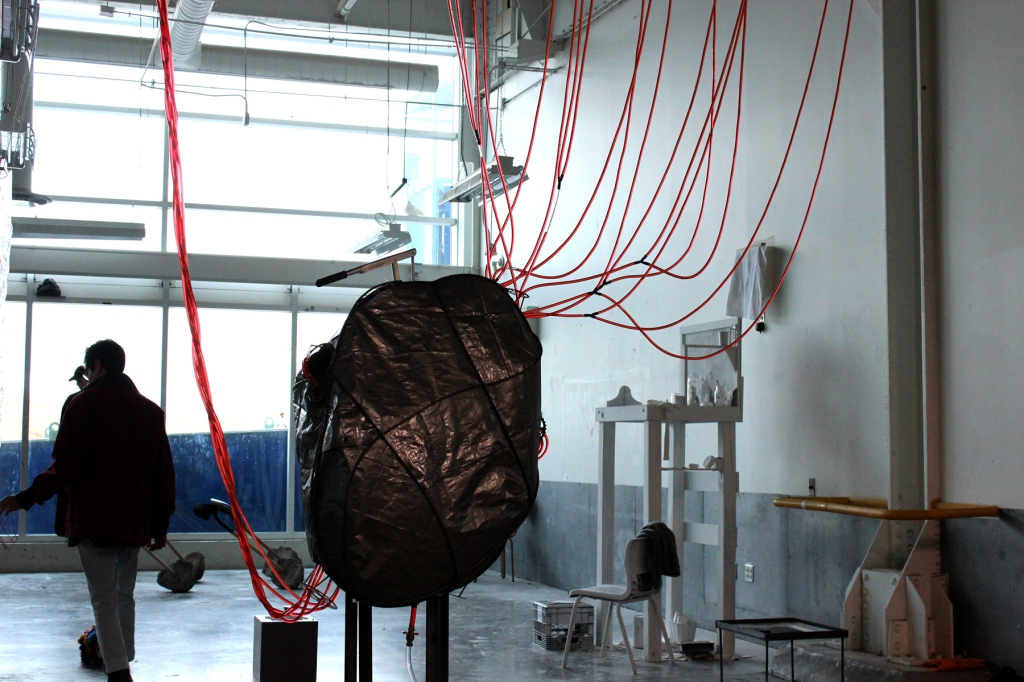 sculptural installation by Ada Denil depicting the human powered vascular system of a building